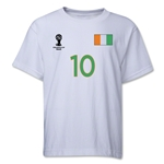 Cote d'Ivoire 2014 FIFA World Cup Brazil(TM) Youth Number 10 T-Shirt (White)