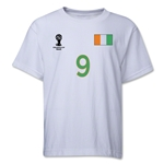 Cote d'Ivoire 2014 FIFA World Cup Brazil(TM) Youth Number 9 T-Shirt (White)