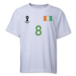 Cote d'Ivoire 2014 FIFA World Cup Brazil(TM) Youth Number 8 T-Shirt (White)