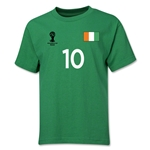 Cote d'Ivoire 2014 FIFA World Cup Brazil(TM) Youth Number 10 T-Shirt (Green)