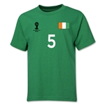 Cote d'Ivoire 2014 FIFA World Cup Brazil(TM) Youth Number 5 T-Shirt (Green)