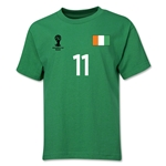 Cote d'Ivoire 2014 FIFA World Cup Brazil(TM) Youth Number 11 T-Shirt (Green)