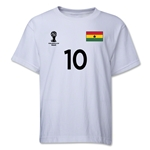 Ghana 2014 FIFA World Cup Brazil(TM) Youth Number 10 T-Shirt (White)