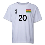 Ghana 2014 FIFA World Cup Brazil(TM) Youth Number 20 T-Shirt (White)