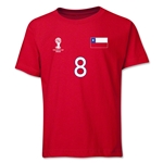 Chile 2014 FIFA World Cup Brazil(TM) Youth Number 8 T-Shirt (Red)