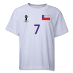 Chile 2014 FIFA World Cup Brazil(TM) Youth Number 7 T-Shirt (White)