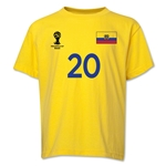 Ecuador 2014 FIFA World Cup Brazil(TM) Youth Number 20 T-Shirt (Yellow)