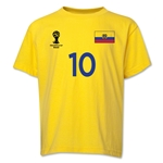 Ecuador 2014 FIFA World Cup Brazil(TM) Youth Number 10 T-Shirt (Yellow)