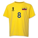 Ecuador 2014 FIFA World Cup Brazil(TM) Youth Number 8 T-Shirt (Yellow)