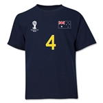 Australia 2014 FIFA World Cup Brazil(TM) Youth Number 4 T-Shirt (Navy)