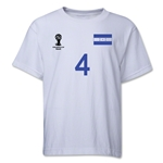 Honduras 2014 FIFA World Cup Brazil(TM) Youth Number 4 T-Shirt (White)