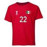 Mexico 2014 FIFA World Cup Brazil(TM) Youth Number 22 T-Shirt (Red)