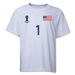 USA 2014 FIFA World Cup Brazil(TM) Youth Number 1 T-Shirt (White)