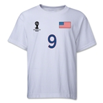 USA 2014 FIFA World Cup Brazil(TM) Youth Number 9 T-Shirt (White)