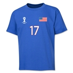 USA 2014 FIFA World Cup Brazil(TM) Youth Number 17 T-Shirt (Royal)