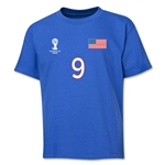 USA 2014 FIFA World Cup Brazil(TM) Youth Number 9 T-Shirt (Royal)
