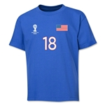 USA 2014 FIFA World Cup Brazil(TM) Youth Number 18 T-Shirt (Royal)