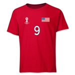 USA 2014 FIFA World Cup Brazil(TM) Youth Number 9 T-Shirt (Red)