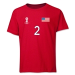 USA 2014 FIFA World Cup Brazil(TM) Youth Number 2 T-Shirt (Red)