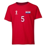 Croatia 2014 FIFA World Cup Brazil(TM) Youth Number 5 T-Shirt (Red)