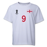 England 2014 FIFA World Cup Brazil(TM) Youth Number 9 T-Shirt (White)