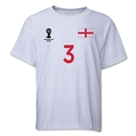 England 2014 FIFA World Cup Brazil(TM) Youth Number 3 T-Shirt (White)