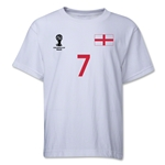 England 2014 FIFA World Cup Brazil(TM) Youth Number 7 T-Shirt (White)
