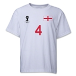 England 2014 FIFA World Cup Brazil(TM) Youth Number 4 T-Shirt (White)