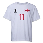 England 2014 FIFA World Cup Brazil(TM) Youth Number 11 T-Shirt (White)