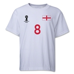 England 2014 FIFA World Cup Brazil(TM) Youth Number 8 T-Shirt (White)