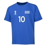 Greece 2014 FIFA World Cup Brazil(TM) Youth Number 10 T-Shirt (Royal)