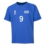 Greece 2014 FIFA World Cup Brazil(TM) Youth Number 9 T-Shirt (Royal)