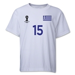 Greece 2014 FIFA World Cup Brazil(TM) Youth Number 15 T-Shirt (White)
