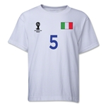 Italy 2014 FIFA World Cup Brazil(TM) Youth Number 5 T-Shirt (White)