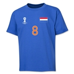 Netherlands 2014 FIFA World Cup Brazil(TM) Youth Number 8 T-Shirt (Royal)