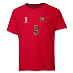Portugal 2014 FIFA World Cup Brazil(TM) Youth Number 5 T-Shirt (Red)