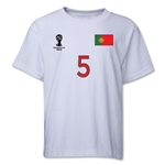 Portugal 2014 FIFA World Cup Brazil(TM) Youth Number 5 T-Shirt (White)