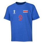 Costa Rica 2014 FIFA World Cup Brazil(TM) Youth Number 9 T-Shirt (Royal)