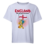 England 2014 FIFA World Cup Brazil(TM) Youth Mascot Flag T-Shirt (White)
