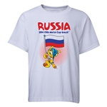Russia 2014 FIFA World Cup Brazil(TM) Youth Mascot Flag T-Shirt (White)