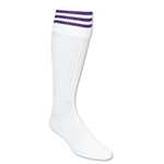 Three-Stripe Socks (White/Purple)