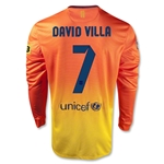 Barcelona 12/13 DAVID VILLA LS Away Soccer Jersey