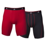 adidas Sport Perf ClimaLite 2-pack 9 Boxer Brief (Blk/Red)
