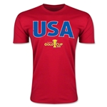 CONCACAF Gold Cup 2015 USA Big Logo Men's Fashion T-Shirt (Red)