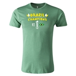 Brazil FIFA Confederations Cup 2013 Champions Men's Fashion T-Shirt (Heather Green)
