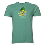 2010 FIFA World Cup Zakumi Men's Mascot Logo T-Shirt (Heather Green)