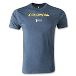 Colombia 2014 FIFA World Cup Brazil(TM) Men's Premium Palm T-Shirt (Blue)