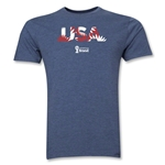 USA 2014 FIFA World Cup Brazil(TM) Men's Premium Palm T-Shirt (Blue)