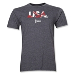 USA 2014 FIFA World Cup Brazil(TM) Men's Premium Palm T-Shirt (Dark Grey)