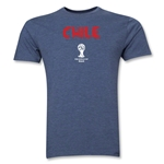 Chile 2014 FIFA World Cup Brazil(TM) Men's Premium Palm T-Shirt (Blue)